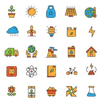 Reihe von ökologie-symbol