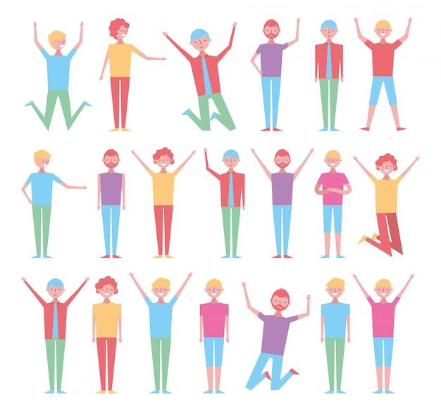 Reihe von personen feier zeichen