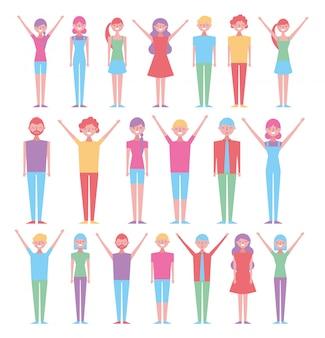 Reihe von personen mit verschiedenen posen