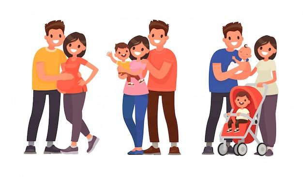 Reihe von phasen der familienentwicklung. schwangerschaft, geburt des erstgeborenen und des zweiten kindes