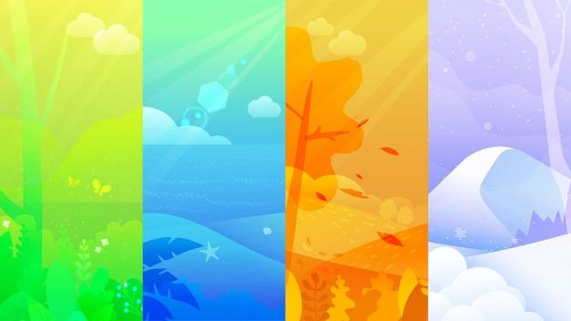 Reihe von plakaten für winter, frühling, sommer und herbst.