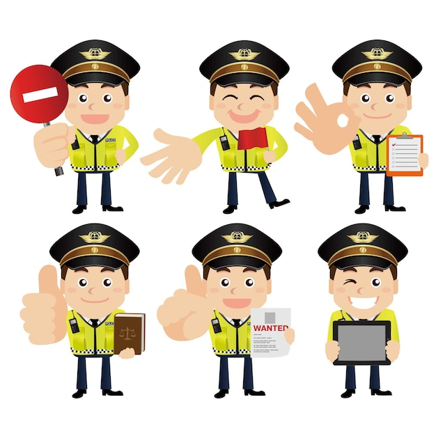 Reihe von polizistenfiguren in verschiedenen posen