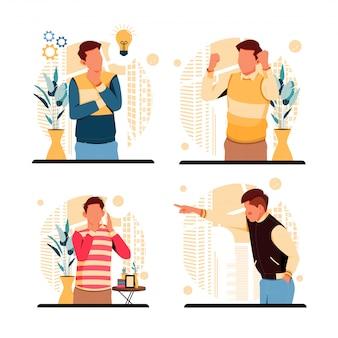 Reihe von porträts der ausdrücke der menschen. flaches designkonzept. illustration