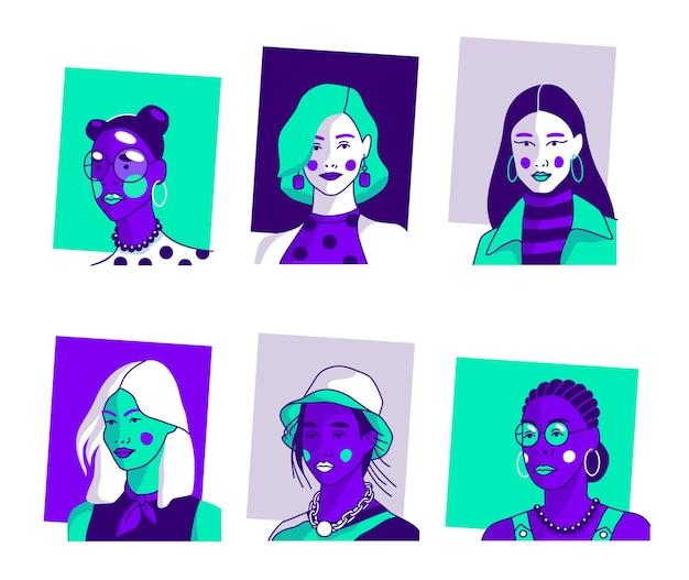 Reihe von porträts von frauen