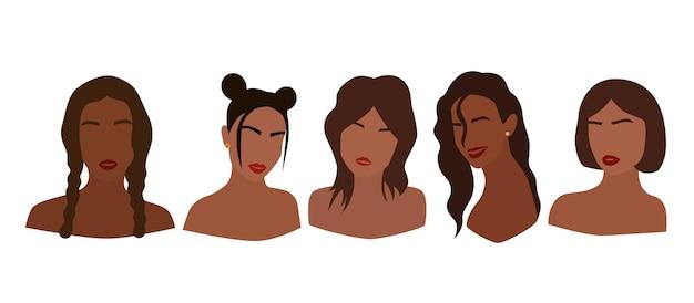 Reihe von porträts von gesichtslosen frauen. sammlung abstrakter schwarzer mädchen mit verschiedenen frisuren. modische minimale vektorillustration lokalisiert auf weißem hintergrund.