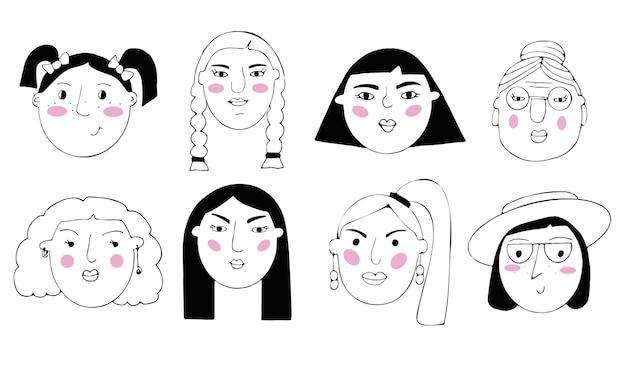 Reihe von porträts von menschen. cartoon lustige minimalistische weibliche charaktere unterschiedlichen alters. zeichnungen von weiblichen gesichtern mit unterschiedlichen emotionen und stimmungen.
