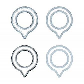 Reihe von ports und docks location guide kreatives konzept. knotenpunktlogo-designidee. logo inspiration mit seil und vor ort pin-symbol. thema des globalen positionierungssystems.