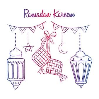 Reihe von ramadan kareem icons mit laterne und ketupat mit doodle kunst