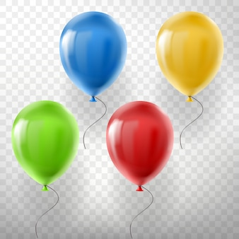 Reihe von realistischen fliegenden heliumballons, mehrfarbig, rot, gelb, grün und blau
