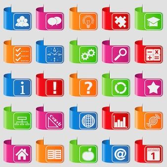 Reihe von registerkarten mit bildungssymbolen