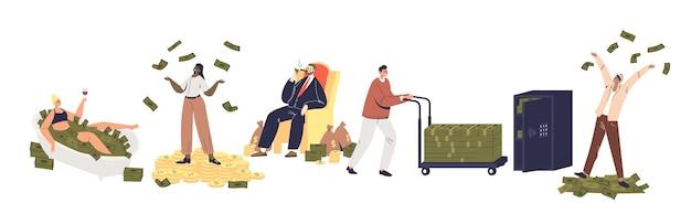 Reihe von reichen leuten, die viel geld haben: zeichentrickfiguren mit haufenweise geldscheinen, die banknoten werfen. reichtum und finanzielles erfolgskonzept. flache vektorillustration