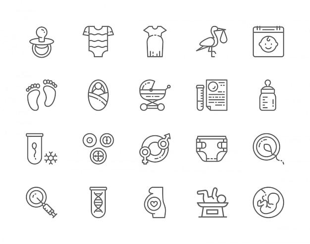 Reihe von schwangerschaft linie icons. babyflasche, kinderbodysuit, übergroßes kleid, neugeborene, dna-tests, nippelschnuller, embryonen und mehr.