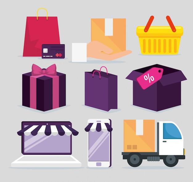 Reihe von shopping-elementen