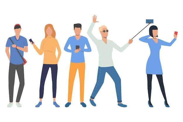 Reihe von smartphone-nutzern