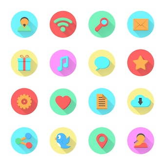 Reihe von social-media-icons