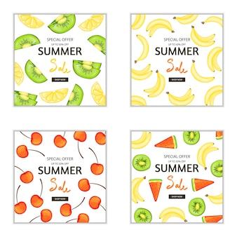 Reihe von sommer-flyer und broschüren für werbung und rabatte Premium Vektoren