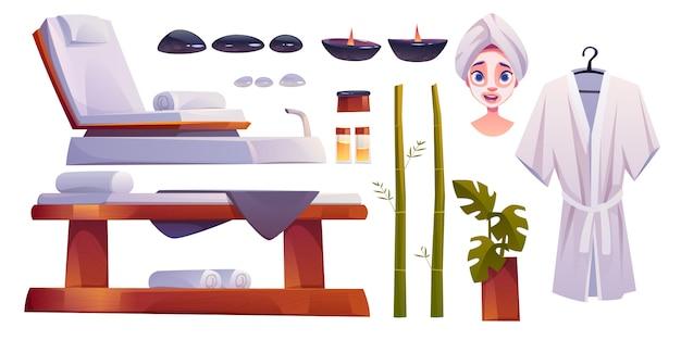 Reihe von spa-salon liefert