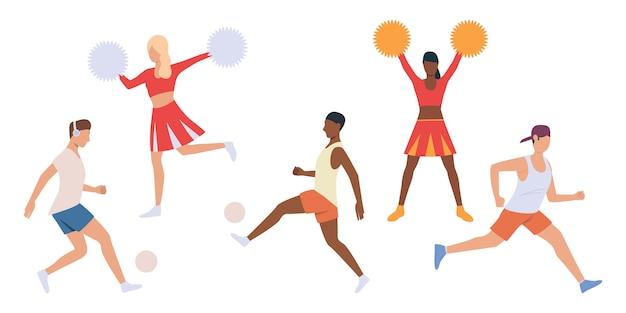 Reihe von spielern und cheerleadern