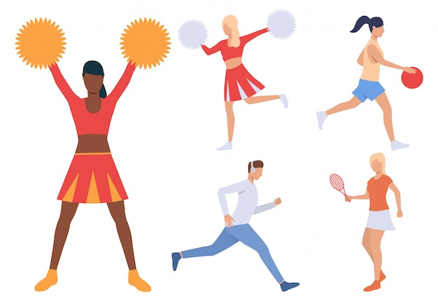 Reihe von sportlichen menschen