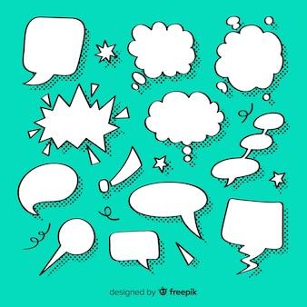 Reihe von sprechblasen für comics