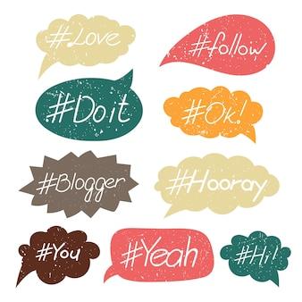 Reihe von sprechblasen hashtags