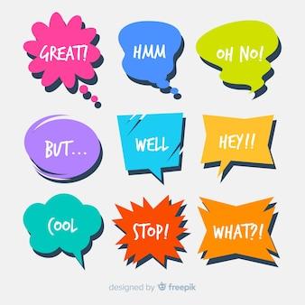 Reihe von sprechblasen mit kurzen nachrichten