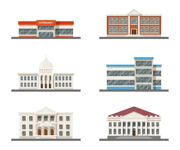 Reihe von stadtgebäuden: supermarkt, krankenhaus, universität, rathaus, museum und einkaufszentrum