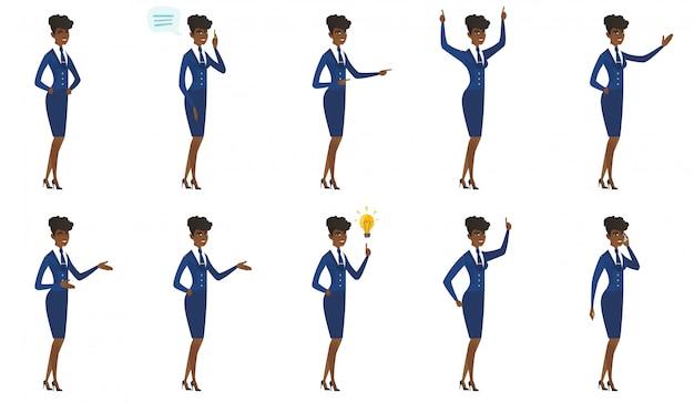 Reihe von stewardess zeichen.