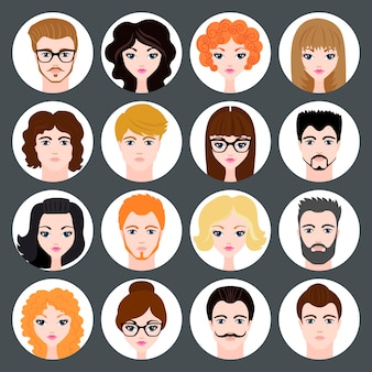 Reihe von stilvollen avatare von mädchen und jungen