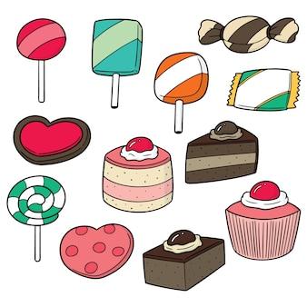 Reihe von süßigkeiten und süßigkeiten