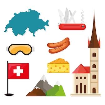 Reihe von symbolen der schweiz