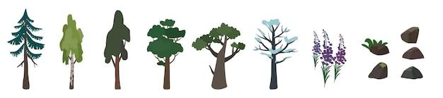 Reihe von symbolen von bäumen birke, eiche, fichte und ihrer silhouette. grünes und braunes natursymbol. flache vektorgrafik