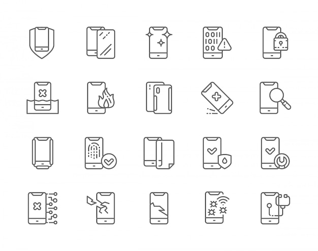 Reihe von telefon-reparatur-linie icons.