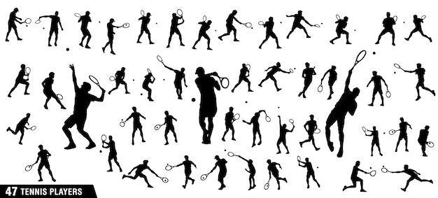 Reihe von tennisspielern