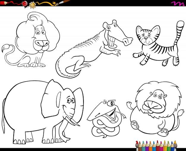 Reihe von tierfiguren farbbuch
