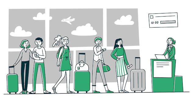 Reihe von touristen am flughafen check-in-schalter