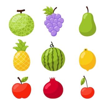 Reihe von tropischen früchten cartoon-stil. isoliert auf weißem hintergrund.