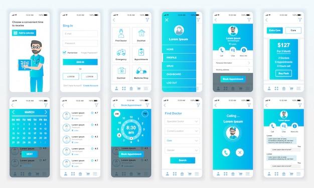 Reihe von ui, ux, gui-bildschirmen medizin app flach