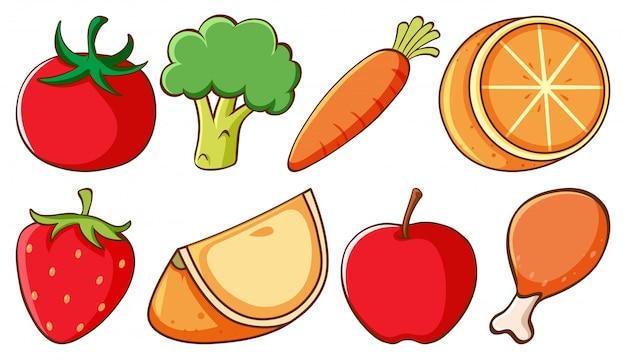 Reihe von verschiedenen arten von obst und gemüse