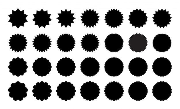 Reihe von verschiedenen aufklebern. schwarzweiss-aufklebersammlung, abzeichen, stempel