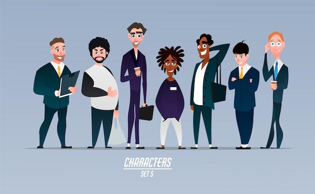 Reihe von verschiedenen charakteren von unternehmern, geschäftsleuten und mitarbeitern von unternehmen. charaktere im cartoon-stil.