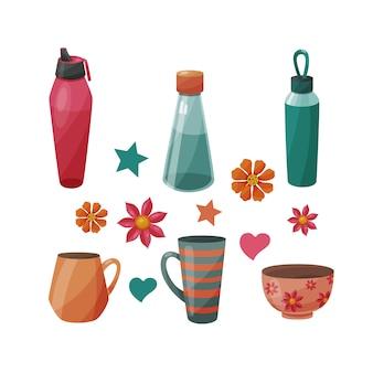 Reihe von verschiedenen flaschen und tassen