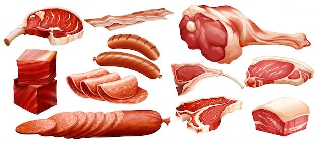 Reihe von verschiedenen fleischsorten