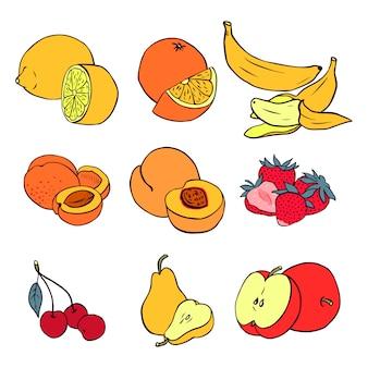 Reihe von verschiedenen früchten: banane, pfirsich, erdbeere, kirsche, birne, zitrone, orange, aprikose, apfel