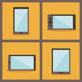 Reihe von verschiedenen geräten, smartphone und tablet
