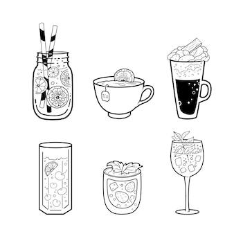 Reihe von verschiedenen getränken: tee, kaffee, getränke. umrisszeichnung.