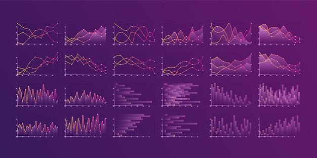 Reihe von verschiedenen grafiken und diagrammen. infografiken und diagnosen, diagramme und schemata.