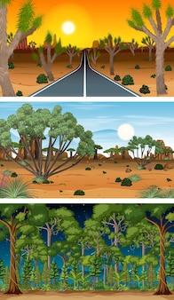 Reihe von verschiedenen horizontalen waldszenen zu verschiedenen zeiten