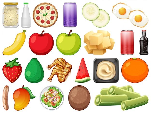 Reihe von verschiedenen lebensmitteln