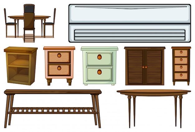 Reihe von verschiedenen möbeln